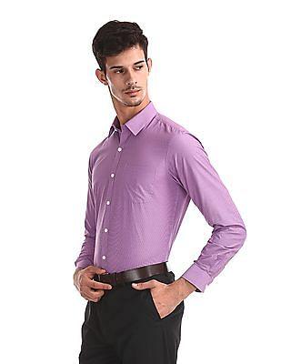 Excalibur Purple Slim Fit Patterned Weave Shirt