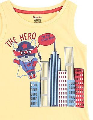 Donuts Boys Cartoon Print Muscle T-Shirt