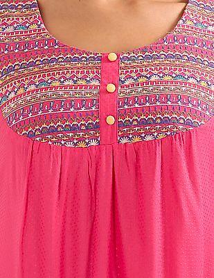 Bronz Embroidered Yoke Swing Dress