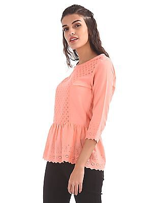 Cherokee Embroidered Woven Top