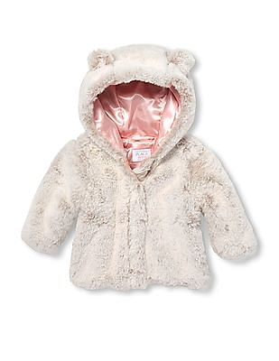 The Children's Place Baby Pink Fur Hooded Jacket