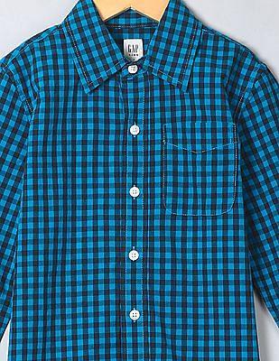 GAP Boys Blue Gingham Poplin Shirt