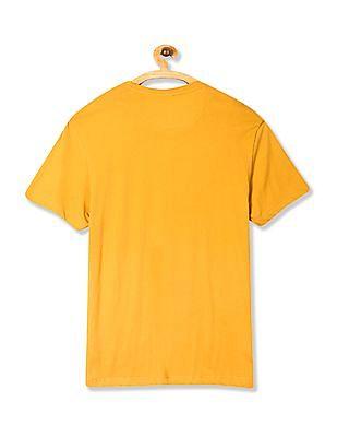 U.S. Polo Assn. Denim Co. Yellow Crew Neck Printed T-Shirt