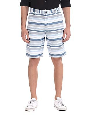 Arrow Sports Blue Mid Rise Striped Shorts