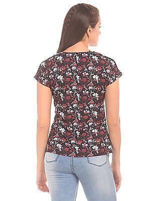 Cherokee Floral Printed Extended Sleeve Top