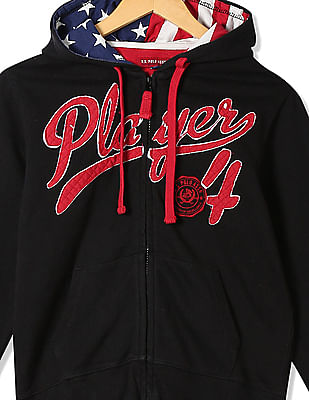 U.S. Polo Assn. Kids Boys Brand Applique Hooded Sweatshirt