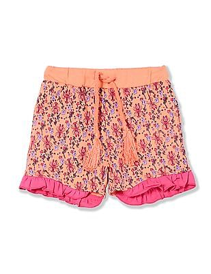 Donuts Girls Ruffle Hem Printed Shorts