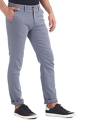 Arrow Sports Blue Patterned Cotton Stretch Trousers
