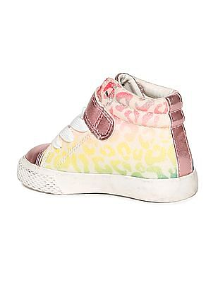 The Children's Place Toddler Girl Glitter Multicolour Leopard Print Hi-Top Rockstar Sneaker