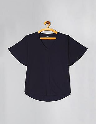 GAP Blue Softspun Flutter Sleeve V-Neck Top