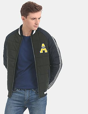 Aeropostale Green Colour Block Bomber Jacket