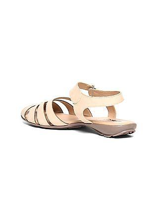 Bronz Crossover Strap Peep Toe Sandals