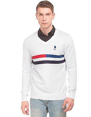 U.S. Polo Assn. Striped Chest V-Neck Sweater