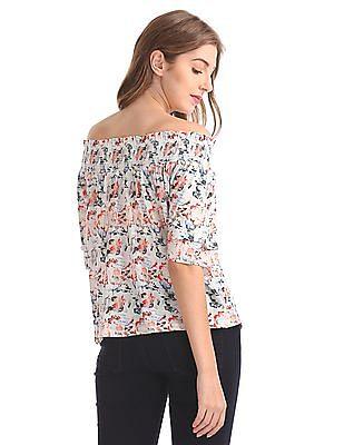 Cherokee Floral Printed Off-Shoulder Top