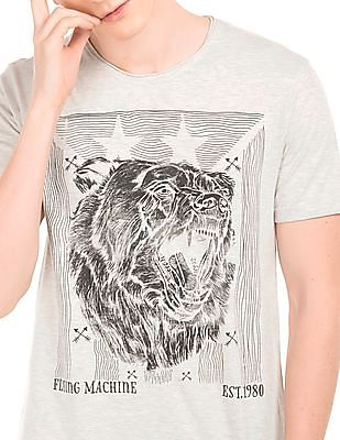 Flying Machine Beer Print T-Shirt