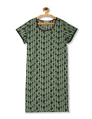 Karigari Green Sequin Neck Printed Kurta