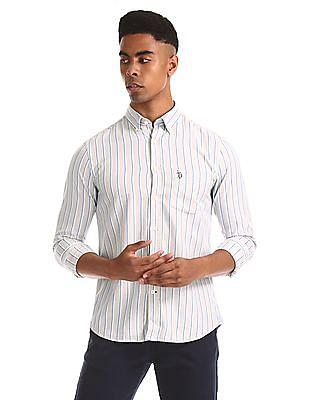 U.S. Polo Assn. Beige Vertical Stripe Button Down Shirt
