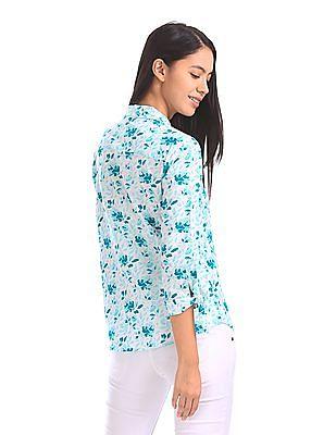 U.S. Polo Assn. Women Tie Up Sleeve Floral Print Shirt