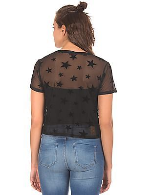 Aeropostale Black Star Print Mesh T-Shirt