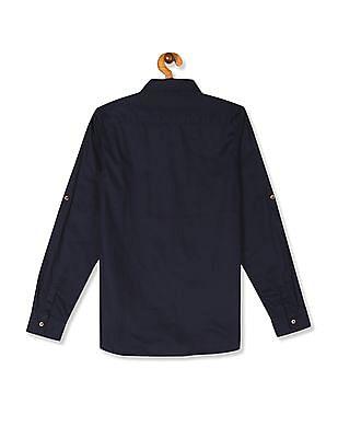 U.S. Polo Assn. Kids Blue Boys Button Down Solid Shirt