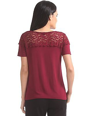 Elle Studio Lace Yoke Knit Top