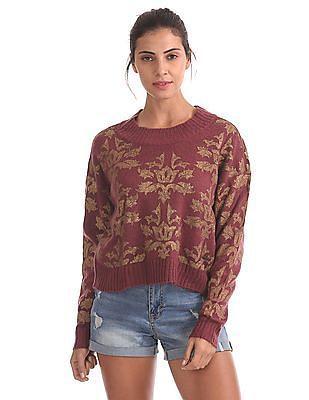 EdHardy Women Long Sleeve Foil Print Sweater