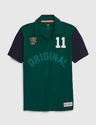 GAP Green Boys Graphic Polo Shirt