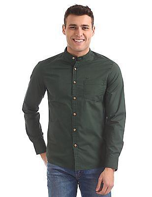 Flying Machine Mandarin Collar Cotton Shirt