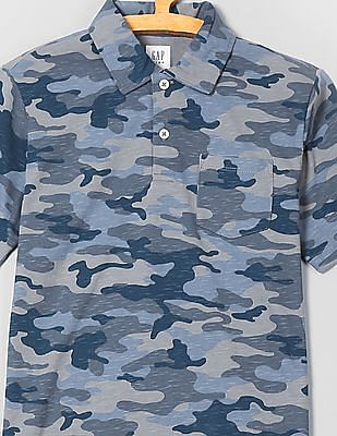 GAP Boys Jersey Camo Print Polo Shirt