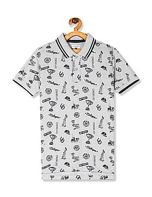 U.S. Polo Assn. Kids Grey Boys Allover Print Pique Polo Shirt