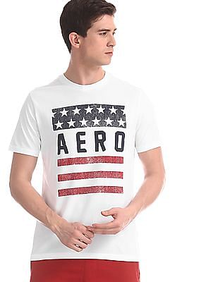 Aeropostale White Crew Neck Cotton T-Shirt