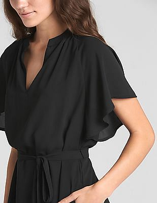 GAP Flounce Short Sleeve Tie-Belt Dress