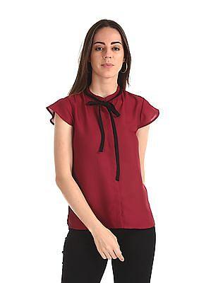 Elle Studio Red Tie Up Neck Cap Sleeve Top