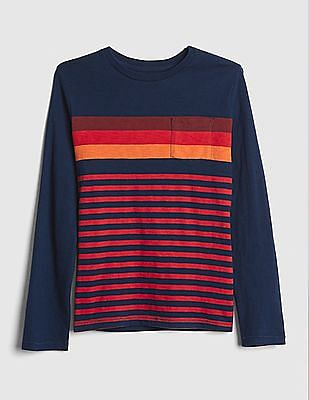 GAP Boys Stripe Pocket Long Sleeve T-Shirt