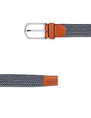 Flying Machine Leather Trim Braided Belt