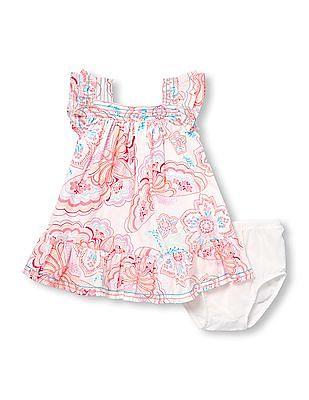 330d314fd6a3 The Children's Place Baby Girls Short Flutter Sleeve Butterfly Print Dress  And Bloomers Set
