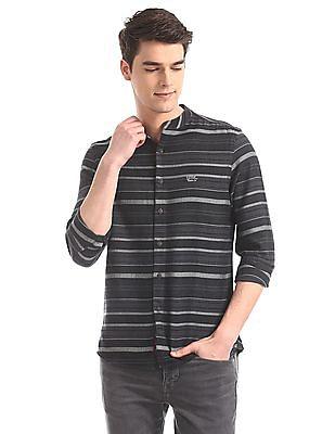 U.S. Polo Assn. Denim Co. Grey Mandarin Collar Horizontal Stripe Shirt