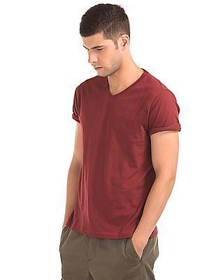 GAP Men Red Essential Short Sleeve V-Neck T-Shirt