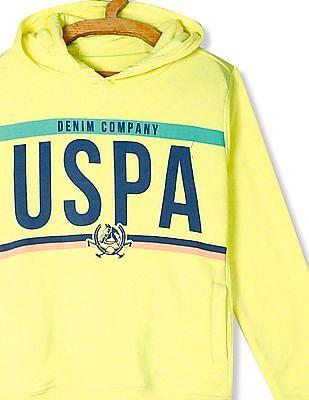U.S. Polo Assn. Kids Yellow Boys Printed Hooded Sweatshirt