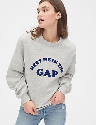 GAP Grey Flocked Logo Crewneck Sweatshirt
