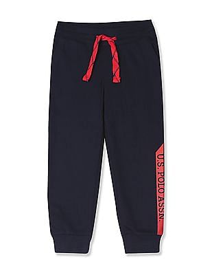 U.S. Polo Assn. Kids Blue Boys Mid Rise Knit Joggers