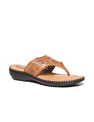 Bronz Laser Cut V-Strap Sandals
