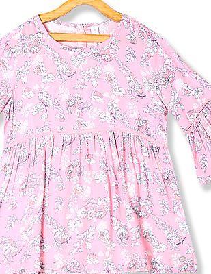 U.S. Polo Assn. Kids Pink Girls Bell Sleeve Printed Top