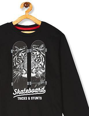 FM Boys Black Boys Crew Neck Skateboard Print Sweatshirt