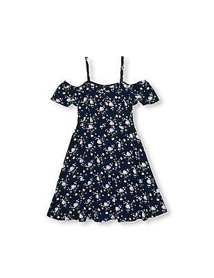 The Children's Place Girls Short Sleeve Floral Print Cold-Shoulder Woven Dress