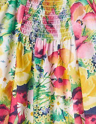 GAP Toddler Girl Multi Colour Floral Smocked Bib Dress