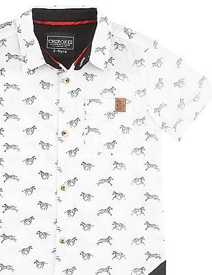 Cherokee Boys Short Sleeve Zebra Print Shirt