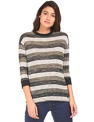U.S. Polo Assn. Women Ribbed Trim Striped Top