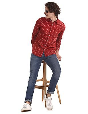 Flying Machine Red Long Sleeve Printed Shirt