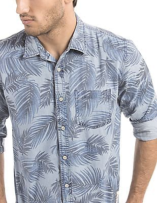 Cherokee Slim Fit Tropical Print Shirt